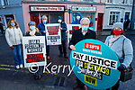 Members of SIPTU Health division hold a protest at the constituency office in Tralee of Norma Foley TD on Friday morning. Front: Tony Doodey and Catherine O'Sullivan. Back l to r: Siobhan Burns, Francis Smyth, Billy Dowling, Danny Lyons and James Allman.