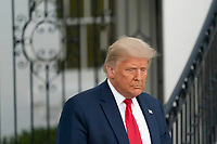 United States President Donald J. Trump departs the White House in Washington, DC en route to a political event in Johnstown, Pennsylvania on Tuesday, October 13, 2020.<br /> CAP/MPI/RS<br /> ©RS/MPI/Capital Pictures