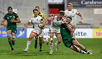 Friday 23rd April 2021; Ethan McIlroy off loads as he is tackled by Tom Daly during the first round of the Guinness PRO14 Rainbow Cup between Ulster Rugby and Connacht Rugby at Kingspan Stadium, Ravenhill Park, Belfast, Northern Ireland. Photo by John Dickson/Dicksondigital