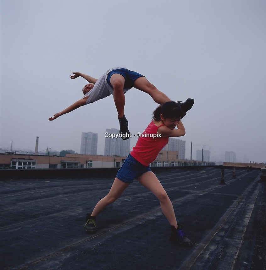 """Li Wei artwork named """"Love at the high place"""" in Beijing...PHOTO BY SINOPIX"""