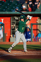Beloit Snappers Nick Ward (8) at bat during a Midwest League game against the Lansing Lugnuts at Cooley Law School Stadium on May 4, 2019 in Lansing, Michigan. Beloit defeated Lansing 2-1. (Zachary Lucy/Four Seam Images)