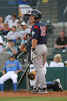 Tim Federowicz #18 of the Salem Red Sox at bat during a game against the Myrtle Beach Pelicans on May 14, 2010 at BB&T Coastal Field in Myrtle Beach, SC.