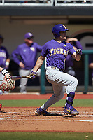 Josh Smith (4) of the LSU Tigers follows through on his swing against the Georgia Bulldogs at Foley Field on March 23, 2019 in Athens, Georgia. The Bulldogs defeated the Tigers 2-0. (Brian Westerholt/Four Seam Images)