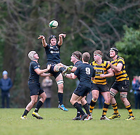 Saturday 18th February 2017 | CCB vs RBAI<br /> <br /> Jack Stinson during the Ulster Schools' Cup Quarter Final clash between Campbell College Belfast and RBAI at Foxes Field, Campbell College, Belmont, Belfast, Northern Ireland.<br /> <br /> Photograph by John Dickson | www.dicksondigital.com