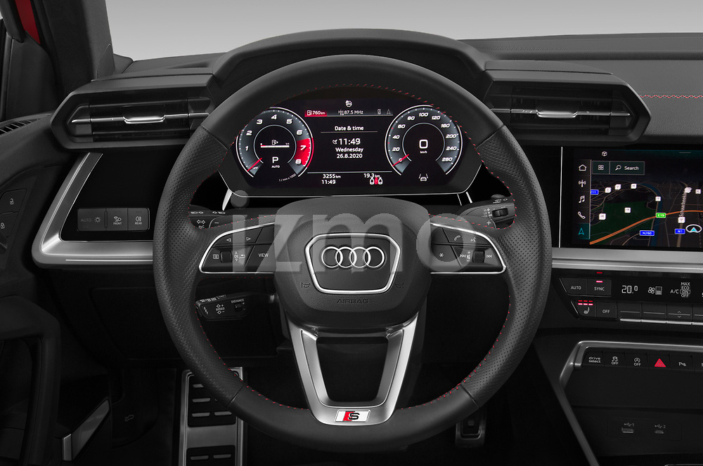 Steering wheel view of a 2020 Audi A3 S Line 4 Door Sedan