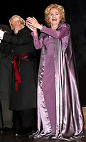 NEW YORK, NY- FEBRUARY 12: Louis Zorich and Olympia Dukakis during the opening curtain call for Agamemnon, held at John Jay College, on February 12, 2004, in New York City. Credit: Joseph Marzullo/MediaPunch