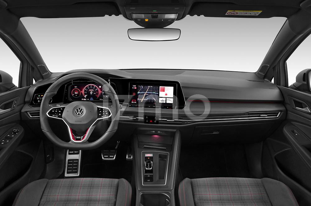 Stock photo of straight dashboard view of 2021 Volkswagen Golf GTI 5 Door Hatchback Dashboard