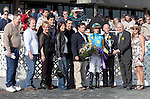 The connections of JOE VANN and jockey Florent Geroux accepting the trophy after winning the GIII TVG Illinois Derby at Hawthorne Race Course in Cicero/Stickney, IL.