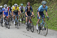 5th June 2021; La Plagne, Tarentaise, France;  IZAGUIRRE INSAUSTI Ion (ESP) of ASTANA - PREMIER TECH and THOMAS Geraint (GBR) of INEOS GRENADIERS and LUTSENKO Alexey (KAZ) of ASTANA - PREMIER TECH  during stage 7 of the 73th edition of the 2021 Criterium du Dauphine Libere cycling race, a stage of 171km with start in Saint-Martin-Le-Vinoux and finish in La Plagne