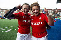 Lauren Smyth and Lleucu George of Wales celebrate at full time during the Women's Six Nations match between Wales and Ireland at Cardiff Arms Park, Cardiff, Wales, UK. Sunday 17 March 2019