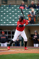 Rochester Red Wings Jordany Valdespin (23) bats during an International League game against the Charlotte Knights on June 16, 2019 at Frontier Field in Rochester, New York.  Rochester defeated Charlotte 11-5 in the first game of a doubleheader that was a continuation of a game postponed the day prior due to inclement weather.  (Mike Janes/Four Seam Images)