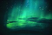 Northern Lights over Partridge Bay near Marquette Michigan on Lake Superior.