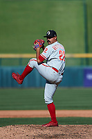 Glendale Desert Dogs relief pitcher Trevor Bettencourt (22), of the Philadelphia Phillies organization, delivers a pitch to the plate during an Arizona Fall League game against the Mesa Solar Sox on October 28, 2017 at Sloan Park in Mesa, Arizona. The Solar Sox defeated the Desert Dogs 9-6. (Zachary Lucy/Four Seam Images)