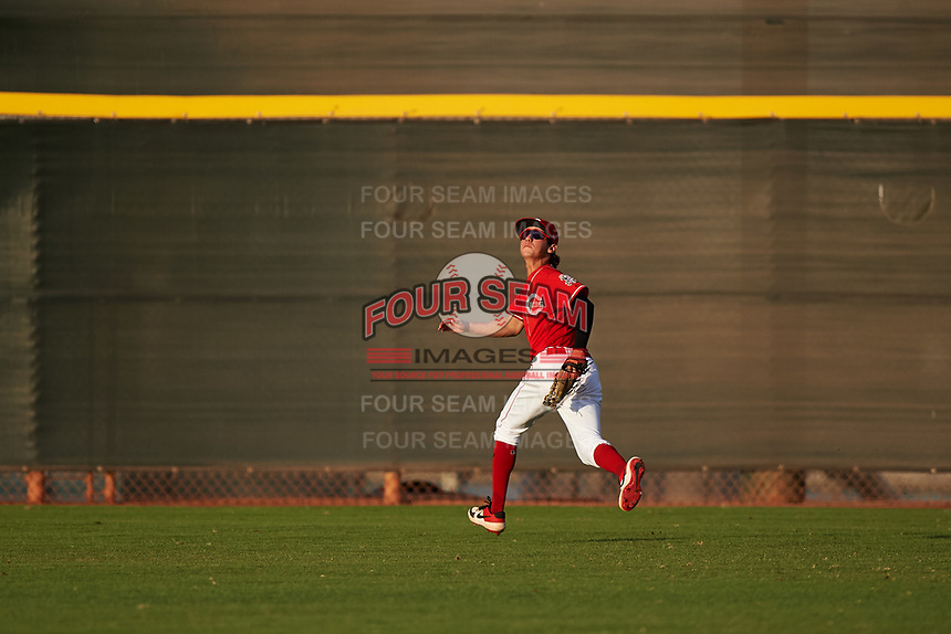 AZL Reds center fielder Rafael Franco (2) prepares to catch a fly ball during an Arizona League game against the AZL Athletics Green on July 21, 2019 at the Cincinnati Reds Spring Training Complex in Goodyear, Arizona. The AZL Reds defeated the AZL Athletics Green 8-6. (Zachary Lucy/Four Seam Images)