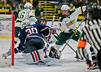 21 November 2017: University of Vermont Catamount forward Brian Bowen is unable to get the puck past University of Connecticut Huskie goaltender Adam Huska in the second at Gutterson Fieldhouse in Burlington, Vermont. The Huskies defeated the Catamounts 4-1 in Hockey East play. Mandatory Credit: Ed Wolfstein Photo *** RAW (NEF) Image File Available ***