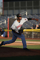 Wilfri Aleton (25) of the Vancouver Canadians pitches against the Salem-Keizer Volcanoes at Volcanoes Stadium on July 24, 2017 in Keizer, Oregon. Salem-Keizer defeated Vancouver, 4-3. (Larry Goren/Four Seam Images)