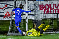 Genk's forward Gwen Duijsters (13) and Charleroi goalkeeper Ambre Collet (1) pictured during a female soccer game between Sporting Charleroi and KRC Genk Ladies on the 9th matchday of the 2020 - 2021 season of Belgian Scooore Womens Super League , friday 11 th of December 2020  in Marcinelle , Belgium . PHOTO SPORTPIX.BE | SPP | STIJN AUDOOREN