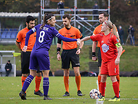 Captain Laura De Neve (8 Anderlecht) and captain Jana Simons (8 Woluwe) give each other a fist bump during a female soccer game between FC Femina WS Woluwe and RSC Anderlecht Women on the eight match day of the 2020 - 2021 season of Belgian Women's Super League , Sunday 22nd of November 2020  in Woluwe, Belgium . PHOTO SPORTPIX.BE | SPP | SEVIL OKTEM