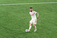 FOXBOROUGH, MA - MAY 22: Thomas Edwards #7 of New York Red Bulls passes the ball during a game between New York Red Bulls and New England Revolution at Gillette Stadium on May 22, 2021 in Foxborough, Massachusetts.