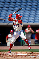 Clearwater Threshers second baseman Jose Gomez (3) at bat during a game against the Jupiter Hammerheads on April 11, 2018 at Spectrum Field in Clearwater, Florida.  Jupiter defeated Clearwater 6-4.  (Mike Janes/Four Seam Images)