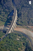 Railway bridge over contryside road, aerial view (Licence this image exclusively with Getty: http://www.gettyimages.com/detail/101682982 )