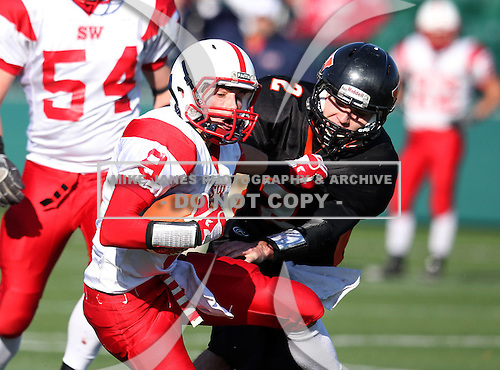 Southwestern Trojans varsity football against the Wellsville Lions during the NYSPHSAA Quarterfinals at Sahlens Stadium in Rochester, New York on November 12, 2011.  Southwestern defeated Wellsville 23-6.  (Photo By Mike Janes Photography)