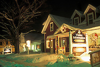 AJ4691, Stowe, winter, resort town, Vermont, The Stowe Visitor Information Center is decorated with lights in the evening for the Christmas holiday season in Stowe in Lamoille County in the state of Vermont.