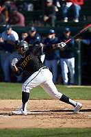 Antonio Brown (4) of the West Virginia State Yellow Jackets follows through on his swing against the Catawba Indians at Newman Park on February 9, 2020 in Salisbury, North Carolina. The Indians defeated the Yellow Jackets 15-9 in game one of a doubleheader.  (Brian Westerholt/Four Seam Images)