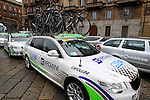 Bardiani Valvole-CSF Inox Team lined up at the start of the 104th edition of the Milan-San Remo cycle race at Castello Sforzesco in Milan, 17th March 2013 (Photo by Eoin Clarke 2013)