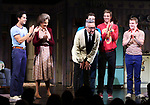 """Michael Hsu Rosen, Mercedes Ruehl, Moises Kaufman, Michael Urie, Ward Horton, Jack DiFalco  during the Broadway Opening Night Curtain Call for """"Torch Song"""" at the Hayes Theater on November 1, 2018 in New York City."""