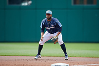 Columbus Clippers first baseman Nellie Rodriguez (25) during a game against the Gwinnett Stripers on May 17, 2018 at Huntington Park in Columbus, Ohio.  Gwinnett defeated Columbus 6-0.  (Mike Janes/Four Seam Images)