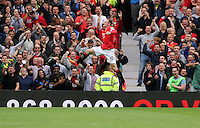 Pictured: Wayne Rooney celebrating his goal. Saturday 16 August 2014<br />