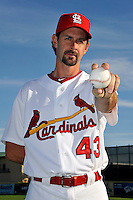 Mar 01, 2010; Jupiter, FL, USA; St. Louis Cardinals pitcher Trever Miller (43) during  photoday at Roger Dean Stadium. Mandatory Credit: Tomasso De Rosa/ Four Seam Images