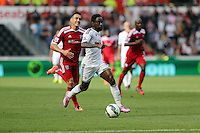 Pictured: Nathan Dyer of Swansea scoring his second goal in the game, making the score 3-0 to his team Saturday 30 August 2014<br /> Re: Premier League, Swansea City FC v West Bromwich Albion at the Liberty Stadium, south Wales, UK