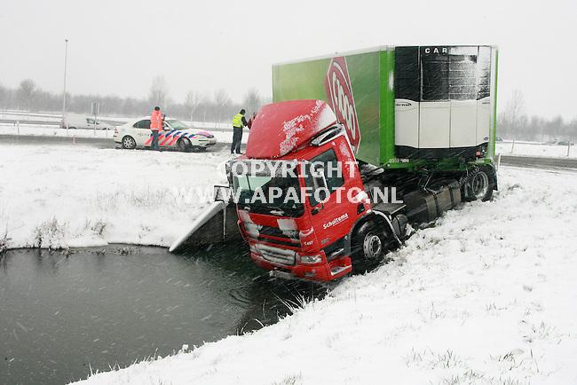 Elst(gld) 080207 Deze vrachtwagen van Schuitema raakte door de sneeuw op de afrit elst van de weg. de chauffeur zag nog net op tijd kans de auto uit het water te houden. Daarna duurt het nog even voordat hij zich realiseert wat er gebeurt is, en hoeveel geluk hij heeft gehad.<br /> Foto frans Ypma APA-foto