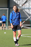 Isaline Sys (9) of Club Brugge pictured during the warm up before a female soccer game between Oud Heverlee Leuven and Club Brugge YLA on the 18 th and last matchday before the play offs of the 2020 - 2021 season of Belgian Womens Super League , saturday 27 th of March 2021  in Heverlee , Belgium . PHOTO SPORTPIX.BE | SPP | SEVIL OKTEM