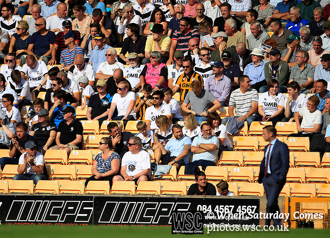 Port Vale 3 Doncaster Rovers 0, 22/08/2015. League One, Vale Park. Port Vale fans and Doncaster Rovers Manager Paul Dickov. Photo by Paul Thompson.