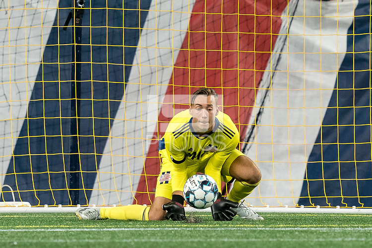 FOXBOROUGH, MA - SEPTEMBER 09: Joe Rice #51 of New England Revolution II makes a save during a game between Chattanooga Red Wolves SC and New England Revolution II at Gillette Stadium on September 09, 2020 in Foxborough, Massachusetts.