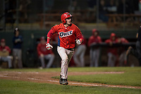 Orem Owlz first baseman David Clawson (3) hustles down the first base line during a Pioneer League game against the Helena Brewers at Kindrick Legion Field on August 21, 2018 in Helena, Montana. The Orem Owlz defeated the Helena Brewers by a score of 6-0. (Zachary Lucy/Four Seam Images)