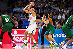 Real Madrid's player Felipe Reyes and Unicaja Malaga's player Oliver Lafayette and Dani Diez during match of Liga Endesa at Barclaycard Center in Madrid. September 30, Spain. 2016. (ALTERPHOTOS/BorjaB.Hojas)
