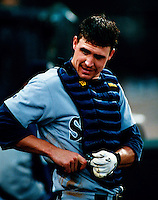 Dann Wilson of the Seattle Mariners plays in a baseball game at Edison International Field during the 1998 season in Anaheim, California. (Larry Goren/Four Seam Images)