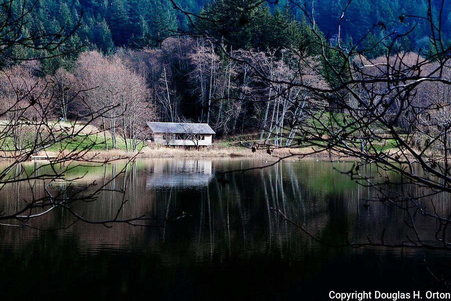 Covered Bridge near Moran State Park, along Olga Road on Orcas Island, San Juan Islands, Washington State.  Bridge is on private land but may be photographed from the roadway.