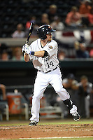Lakeland Flying Tigers outfielder Raph Rhymes (14) at bat during a game against the Tampa Yankees on April 9, 2015 at Joker Marchant Stadium in Lakeland, Florida.  Tampa defeated Lakeland 2-0.  (Mike Janes/Four Seam Images)