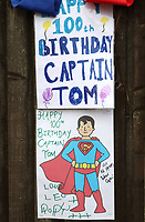 Messages of Congratulations all around the village of Marston Moretaine, Bedfordshire to celebrate the 100th Birthday of resident Captain Tom Moore, who lives with hisfamily at the Old Rectory.Captain Tom - as he has become known - set out at the beginning of April to walk 100 laps of his garden to hopefully raise £1000 for the NHS during the Covid-19 Pandemic. Press coverage of his walk went viral and gradually he became a worldwide phenomenon, finally raising over £32 million and cementing himself as a National Hero Marston Moretaine, Bedford. May 3rd 2020<br /> <br /> Photo by Keith Mayhew