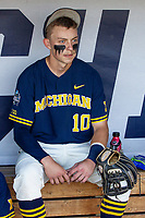 Michigan Wolverines third baseman Blake Nelson (10) before Game 3 of the NCAA College World Series Finals on June 26, 2019 at TD Ameritrade Park in Omaha, Nebraska. Vanderbilt defeated Michigan 8-2 to win the National Championship. (Andrew Woolley/Four Seam Images)