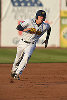 Burlington Bees Jake Yacinich (7) runs to third base during the Midwest League game against the Peoria Chiefs at Community Field on June 9, 2016 in Burlington, Iowa.  Peoria won 6-4.  (Dennis Hubbard/Four Seam Images)