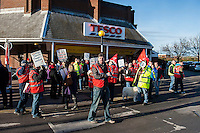 Drivers sacked by Tescos northern supply depot in Doncaster picket the gates of the distribution centre with a tank before marching to protest outside the main Tesco store in town. They were members of the UNITE Trade Union and on indefinite strike. They briefly detained a lorry outside the Tesco store. 8-12-12