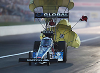 Sep 5, 2020; Clermont, Indiana, United States; NHRA top fuel driver Antron Brown during qualifying for the US Nationals at Lucas Oil Raceway. Mandatory Credit: Mark J. Rebilas-USA TODAY Sports