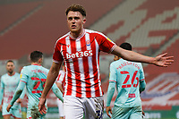 Harry Souttar of Stoke City protests to the assistant referee after awarding a penalty during the Sky Bet Championship match between Stoke City and Swansea City at the Bet365 Stadium, Stoke on Trent, England, UK. Wednesday 03 March 2021