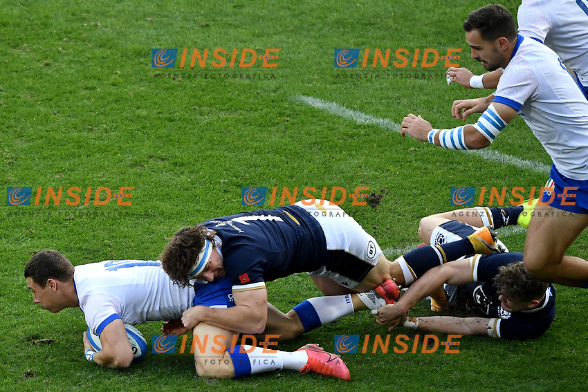 Paolo Garbisi of Italy and Rory Sutherland of Scotland during the rugby Autumn Nations Cup's match between Italy and Scotland at Stadio Artemio Franchi on November 14, 2020 in Florence, Italy. Photo Andrea Staccioli / Insidefoto